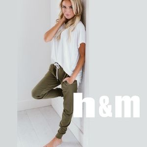 H & M Divided Army Green Moto Joggers